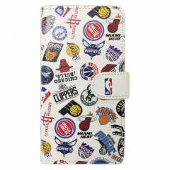 NBA iPhone X/XS 手帳型ケース ALL OVER ホワイト